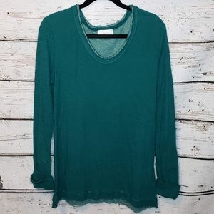 Evereve Braeve Long Sleeve Thermal Top Green Large